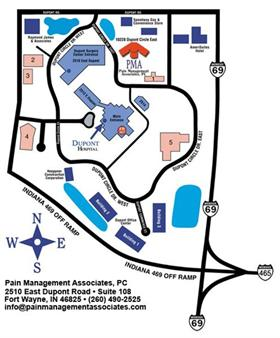 Find relief at Pain Management! (We are the red building on this map.)